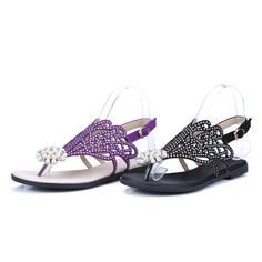 Summer Flats Sandals Pearl and Rhinestone Shoes Woman