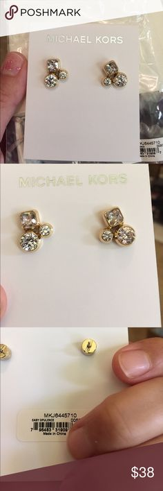 Michael kors cluster earrings Beautiful gold tone and tri crystal settings. These are new, come with the box and bag/care book. Lots of fire in these babies!! Michael Kors Jewelry Earrings