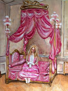 Opus 36 Limited Edition Archival Print of Original by KimAnnabella, €10.00    Art Painting Original Painting Pastel Goth Alternative Marie Antoinette Rococo Baroque Pink Four Poster Bed Fringed Bunny Rabbit White Rabbit Princess Queen  Materials    Paint canvas acrylic paint oil paint archival paper print cello mount