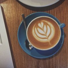 coffee at Prufrock Coffee, London  Wish I had learned how to do this when I worked at Wegmans! hehehe.