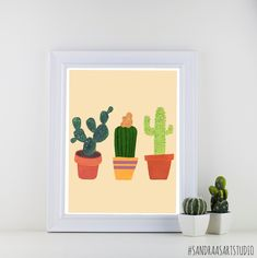 New to SandraArtStudio on Etsy: Cactus print digital print of three cactusses cacti succulent botanical print art print wall decoration INSTANT DOWNLOAD (0018) (7.50 EUR)