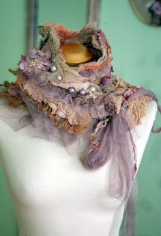Fleurbonheur RESERVED for SUSAN Romantic shawlette can be worn as shrug and is made in shades of cream, salmon, pale peach, caramel, mauve. Textile Jewelry, Fabric Jewelry, Nuno Felting, Needle Felting, Fabric Necklace, Altered Couture, Antique Lace, Felt Art, Fabric Art