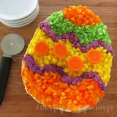 I would do this with fruit though, either in an egg shaped bowl, or on some sort of cookie crust. Would be GREAT as a FRUIT PIZZA!
