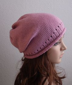 Knit Hat  Slouchy Beanie Knitted Womens Hats by kristineshopforyou