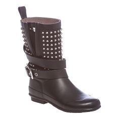 Burberry Black Stud Detail Belted Rain Boots | Overstock.com Shopping - The Best Deals on Designer Women's Shoes