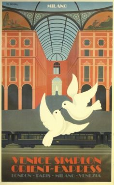 Orient Express Milan, 1982 - original vintage poster by Pierre 'Fix' Masseau (one of a series), listed on AntikBar.co.uk