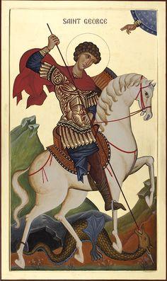 St George on Horseback Religious Images, Religious Icons, Religious Art, Byzantine Icons, Byzantine Art, Saint George And The Dragon, Religious Paintings, Art Icon, Catholic Saints