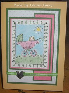 I found this image at a stamping garage sale for $.25, I thought I would make a cute baby card.