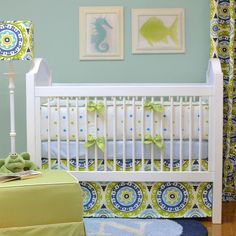 Lime green and blue make for a great beach-inspired nursery!