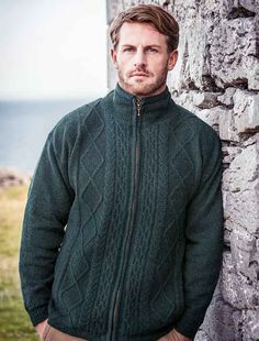 Windproof Wool Jacket, mens wool jacket, aran jacket