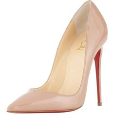 Pre-owned Christian Louboutin Size 37 So Kate Patent Red Sole Nude... found on Polyvore featuring shoes, pumps, heels, sapatos, nude, patent pointed toe pumps, patent pumps, patent leather pointed toe pumps, nude heel pumps and patent leather shoes