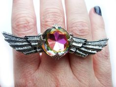 Antiqued Silver Angel Wing Couture Statement Ring with Huge Vintage Swarovski Rainbow Crystal Rhinestone $40.00