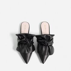 LEATHER SLIDES WITH BOW-SHOES-TRF-COLLECTION AW16 | ZARA United States