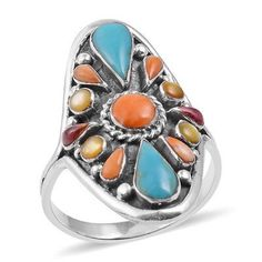 Santa Fe Sterling Silver Turquoise Men Women Ring Santa Fe Style Turquoise (Pear), Mojave Purple Turquoise, Yellow Mother of Pearl, Spiny Oyster Shell Orange Men's Ring in Sterling Silver (Size 8) TGW 4.90 Cts. Jewelry Rings