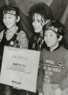 Michael Jackson in Japan. Remember the children!