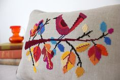Autumn Bird modern cross stitch pattern PDF by SatsumaStreet Cross Stitch Bird, Cross Stitch Borders, Modern Cross Stitch Patterns, Cross Stitch Charts, Cross Stitching, Cross Stitch Embroidery, Embroidery Patterns, Pdf Patterns, Budget Planer