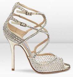 Jimmy Choo  Diamante Embellished Mesh Sandal