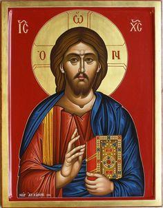 Αγιογράφος Αλεξάνδρα Καούκι Χριστός Παντοκράτωρ Διάσταση 44 X 34 εκατοστά