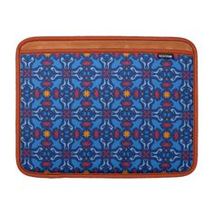 """Rickshaw Bag MacBook Air Sleeves Sea Life motif marine pattern. Made with water resistant fabrics and an ultra-plush padded liner. Water resistant and extra durable. Interior lining in Orange. Cute  pattern inspired by marine life (sharks, starfishes, seahorses, squids, jellyfishes, red corals crowd the navy blue background) Available for MacBook Air 11"""" or  MacBook Air 13"""" on Zazzle."""