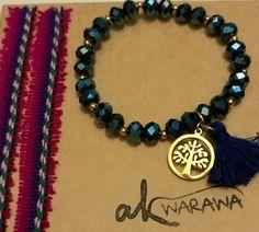 Árbol de la abundancia con plumero y cristales swarovski azules