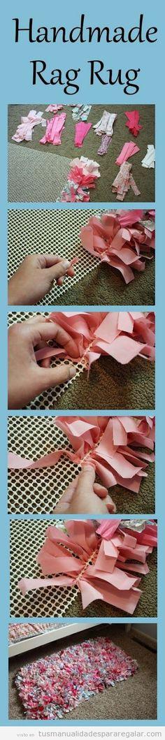 Tutorial para hacer a mano una alfombra de retales