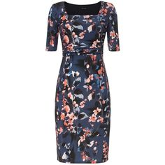Phase Eight Clairebell Square Neck Dress, Multi (€30) ❤ liked on Polyvore featuring dresses, floral dress, floral print maxi dress, elbow sleeve dress, mini dress and floral pencil dress