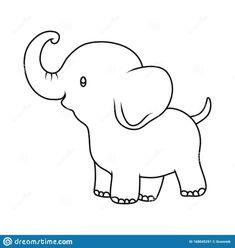 Elephant Drawing For Kids, Cartoon Elephant Drawing, Elephants For Kids, Elephant Doodle, Elephant Template, Elephant Outline, Animal Outline, Elephant Crafts, Elephant Illustration