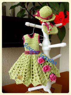 #CamilaFashion #Crochet #Doll #Barbie #Muñeca #Vestido #Dress #Purse #Bolsa #Chapéu #Sombrero #Hat #RaquelGaucha