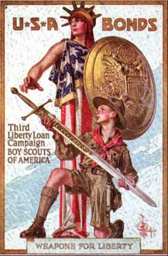 "The government used famous artists to make posters, and used movie stars to host bond rallies. Al Jolson, Elsie Janis, Mary Pickford, Douglas Fairbanks and Charlie Chaplin were among the celebrities that made public appearances promoting the patriotic element of purchasing Liberty Bonds. Chaplin also made a short film.Even the Boy Scouts and Girl Scouts sold bonds under the slogan ""Every Scout to Save a Soldier""."