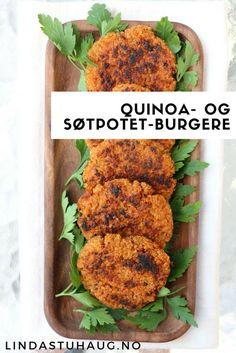 Nydelige og sunne quinoa- og søtpotetburgere fra Linda Stuhaug er perfekte til både hverdag og fest | Middag oppskrift | Sunn middag | Sommeroppskrift | Vegetarmat | Vegetarmiddag Vegan Recepies, Raw Food Recipes, Cooking Recipes, Healthy Recipes, Vegetarian Dinners, Vegan Vegetarian, Vegetarian Recipes, 300 Calorie Meals, Norwegian Food