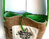 Upcycled Burlap & Tshirt Sling Bag. Eco Friendly. Fall Fashion. Lime Green Love. Recycle. Bicycle. FREE Shipping.