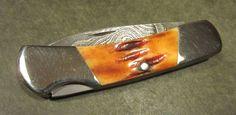 Bear MGC USA Damascus Steel Bone Stag Handle Lockback Hunter Vtg Pocket Knife #BearMGC Pocket Knives, Custom Knives, Folding Knives, Damascus Steel, Firearms, Edc, Bones, Handle, Antiques