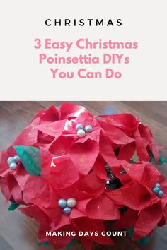 Check out these 3 easy Christmas decor you can make today with Poinsettias. Including a step by step on how to make these Poinsettia flowers. #diychristmas #poinsettias #paperflowers Poinsettia Flower, Christmas Poinsettia, Simple Christmas, Christmas Tree Ornaments, Christmas Diy, Cute Diy Projects, Green Craft, Diy Christmas Decorations Easy, Home Decor Hacks