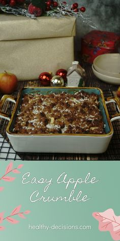 Apple crumble is something we've had for years at Christmas and it just never gets boring. The mixture of sweet and fruity is simply unbeatable as a dessert. It is also super easy to prepare. This Christmas I even baked it twice and it really didn't take much work. #applecrumble #crumble #apple #dessert #eggfree #vegetarian #healthyrecipe #recipe Easy Apple Crumble, Healthy Desserts, Healthy Recipes, Recipe Maker, Egg Free Recipes, Clean Eating Diet, Vegetarian Recipes, Super Easy, Sweet