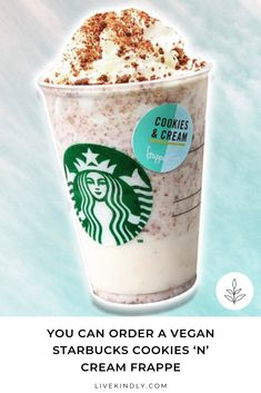 There's a new vegan frappe at Starbucks UK. The Cookies & Cream frappe can be made dairy-free by asking for plant milk and by holding the whipped cream. Dairy Free Starbucks Drinks, Vegan Starbucks, Starbucks Cookies, Frappuccino Recipe, Starbucks Frappuccino, Frappe, Ice Cream Novelties, Dairy Free Milk, No Dairy Recipes