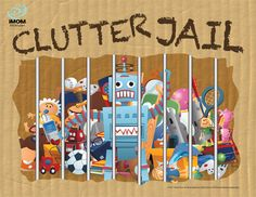 Clutter Jail. If the kids leave it out, it goes in the clutter jail and they have to draw a card out of the community chest and complete the task to get their stuff back. Free printables! .