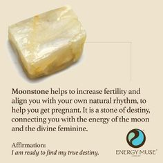 Moonstone helps to increase fertility and align you with your own natural rhythm, to help you get pregnant. It is a stone of destiny, connecting you with the energy of the moon and the divine feminine.