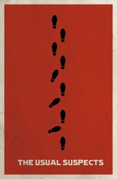 "Great film poster showing the walking pattern of Verbal Kint / Keyser Soze, portrayed by Kevin Spacey - 1995, ""The Usual Suspects"""