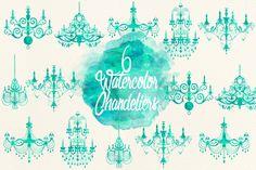 Watercolor Aqua Chandeliers by Kaazuclip on Creative Market