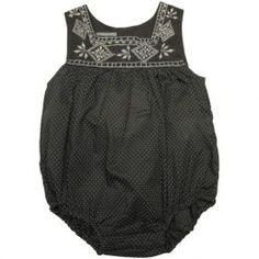 Black embroidered baby girl one piece.
