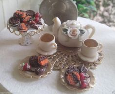 Dollhouse Miniature One Inch Scale Tea set by CSpykersMiniatures