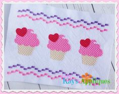 Baby Kay's Appliques - Cupcake with Heart Faux Smock 4x4, 7x3, 7x5, $1.00 (http://www.babykaysappliques.com/cupcake-with-heart-faux-smock-4x4-7x3-7x5/)