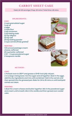 CARROT SHEET CAKE Recipe, super moist Carrot Sheet Cake topped with smooth sweet cream cheese frosting is super simple to throw together and feeds a large crowd. Carrot Sheet Cake Recipe, Sheet Cake Recipes, Homemade Cake Recipes, Fun Baking Recipes, Cake Mix Recipes, Dessert Recipes, Cooking Recipes, Sheet Cakes, Carrot Cake