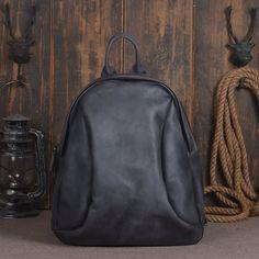 Vintage Style Handmade Leather School Backpack Casual Rucksack Laptop Bag in Navy 14133