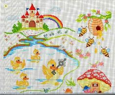 "ru / tymannost - Альбом ""I lavori femminili di Mani di fata: Copertine a punto croce"" Baby Cross Stitch Patterns, Cross Stitch For Kids, Cross Stitch Rose, Cross Stitch Baby, Cross Stitch Charts, Baby Patterns, Baby Embroidery, Cross Stitch Embroidery, Embroidery Designs"