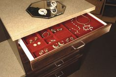 Velvet jewelry drawer systems allow you to personalize your jewelry storage and display - April 13 2019 at Jewelry Drawer, Jewellery Storage, Belt Rack, Custom Closets, Closet System, Dream Closets, Closet Organization, Organization Ideas, Cleaning Hacks