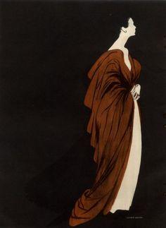Lucien Lelong 1947 Evening Gown Illustration by René Gruau  http://hprints.com/print.php?id=31919&u=3,0