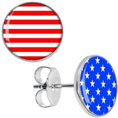 Red White Blue American Flag Stud Earrings | Body Candy Body Jewelry