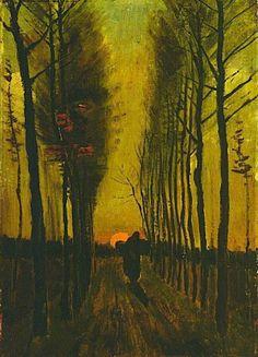 Lane of poplars at sunset – Kröller-Müller Museum