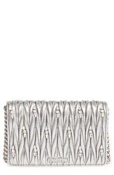 Miu Miu Matelassé Leather Wallet on a Chain available at #Nordstrom